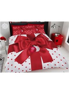 Red Christmas Gift Bow Digital Printing Cotton 3D 5-Piece Comforter Sets Ultra-soft Microfiber No-fading Twin Full Queen King