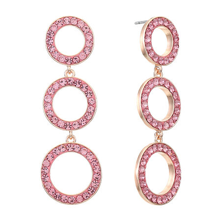 Liz Claiborne Round Drop Earrings, One Size , Pink