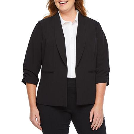 Worthington ¾ Cinch Sleeve Blazer-Plus, 2x , Black