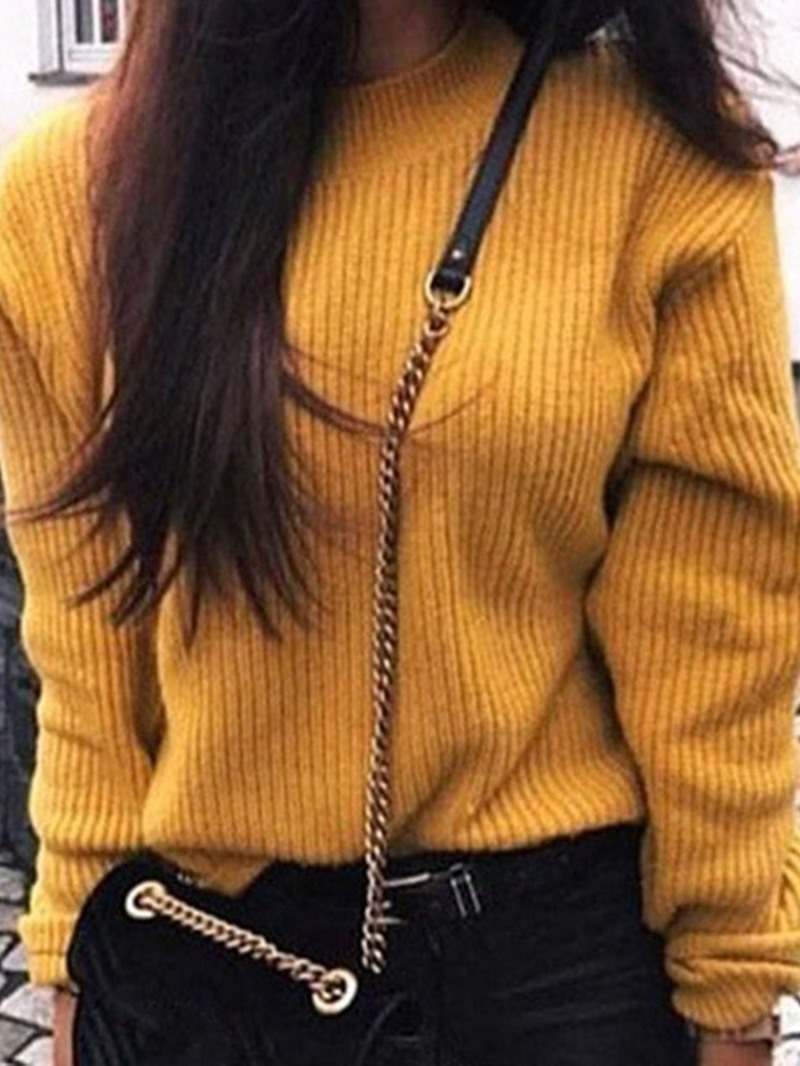 Ericdress Regular Thin Round Neck Long Sleeve Sweater