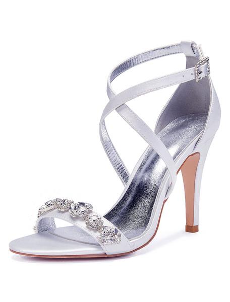Milanoo Satin Wedding Shoes Dark Navy Open Toe Rhinestones Criss Cross Bridal Shoes Mother Shoes