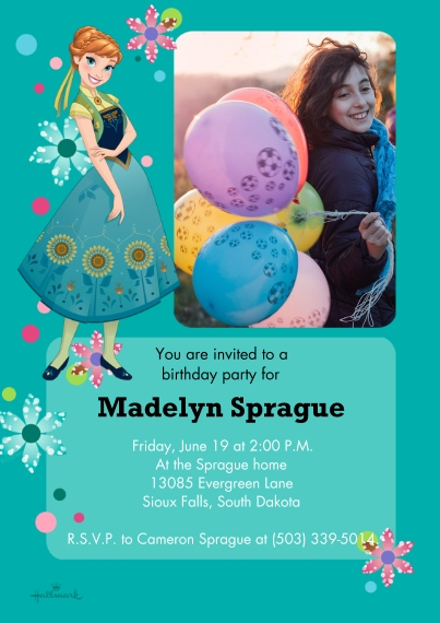 Kids Birthday Party Invites 5x7 Cards, Premium Cardstock 120lb with Elegant Corners, Card & Stationery -Frozen Fever Invitation