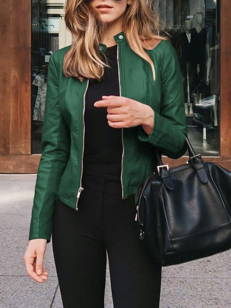 Ericdress Zipper Standard Slim Women's PU Jacket