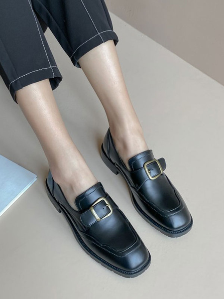Milanoo Women Black Loafers PU Leather Square Toe Metal Details Slip On Shoes
