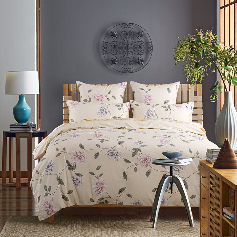 Floral Three-Piece Set Duvet Cover Set Reactive Printing Polyester Bedding Sets 2 Pillowcases