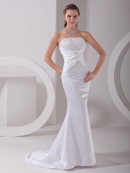 Milanoo White Wedding Dress Mermaid Strapless Twisted Satin Dress