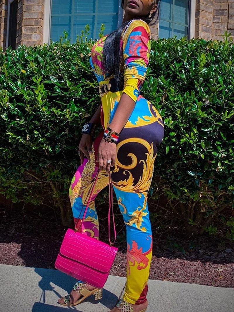 Ericdress Casual Full Length Color Block Skinny Jumpsuit