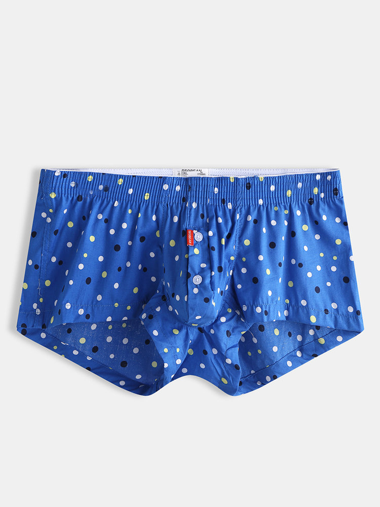 Men Polka Dot Blue Boxer Shorts Sexy Buttons Down Pouch Thin Breathable Loungewear Underwear