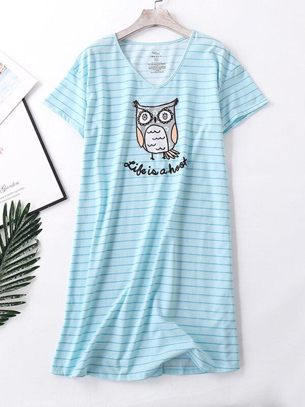 Plus Size Women Softies Nightdress Striped Owl Print V-Neck Short Sleeve Casual Loungewear