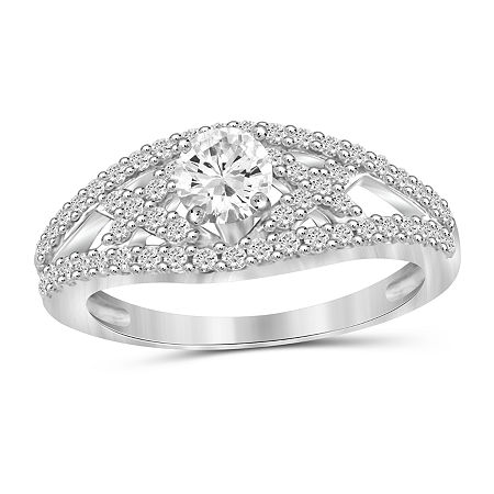 Womens 2 CT. T.W. White Cubic Zirconia Sterling Silver Engagement Ring, 8 , No Color Family
