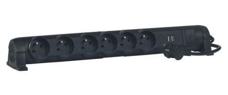 Legrand 1.5m 6 Socket Type E - French Extension Lead, Black