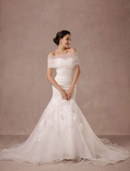 Milanoo Mermaid Wedding Dress Lace Beading Chaple Train Bridal Gown With Detachable Organza Wrap And Flower Applique
