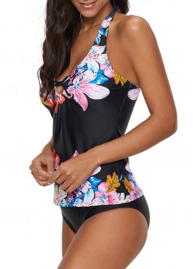Easter Rosewe Women Black Floral Halter Neck Tankini Swimsuit Bowknot Detail Halter Neck Flower Print Tankini Set - L