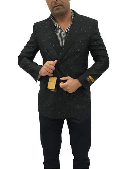 Men's Double Breasted Polka Dot Black Cuff Link Peak Lapel Suit