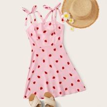 Strawberry Print Self-Tie Cami Mini Dress