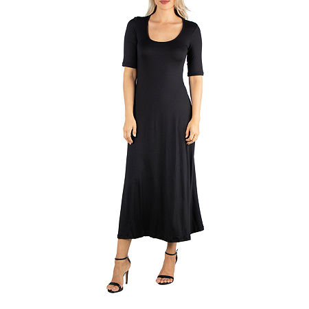 24/7 Comfort Apparel Casual Maxi Dress With Short Sleeves, Small , Black