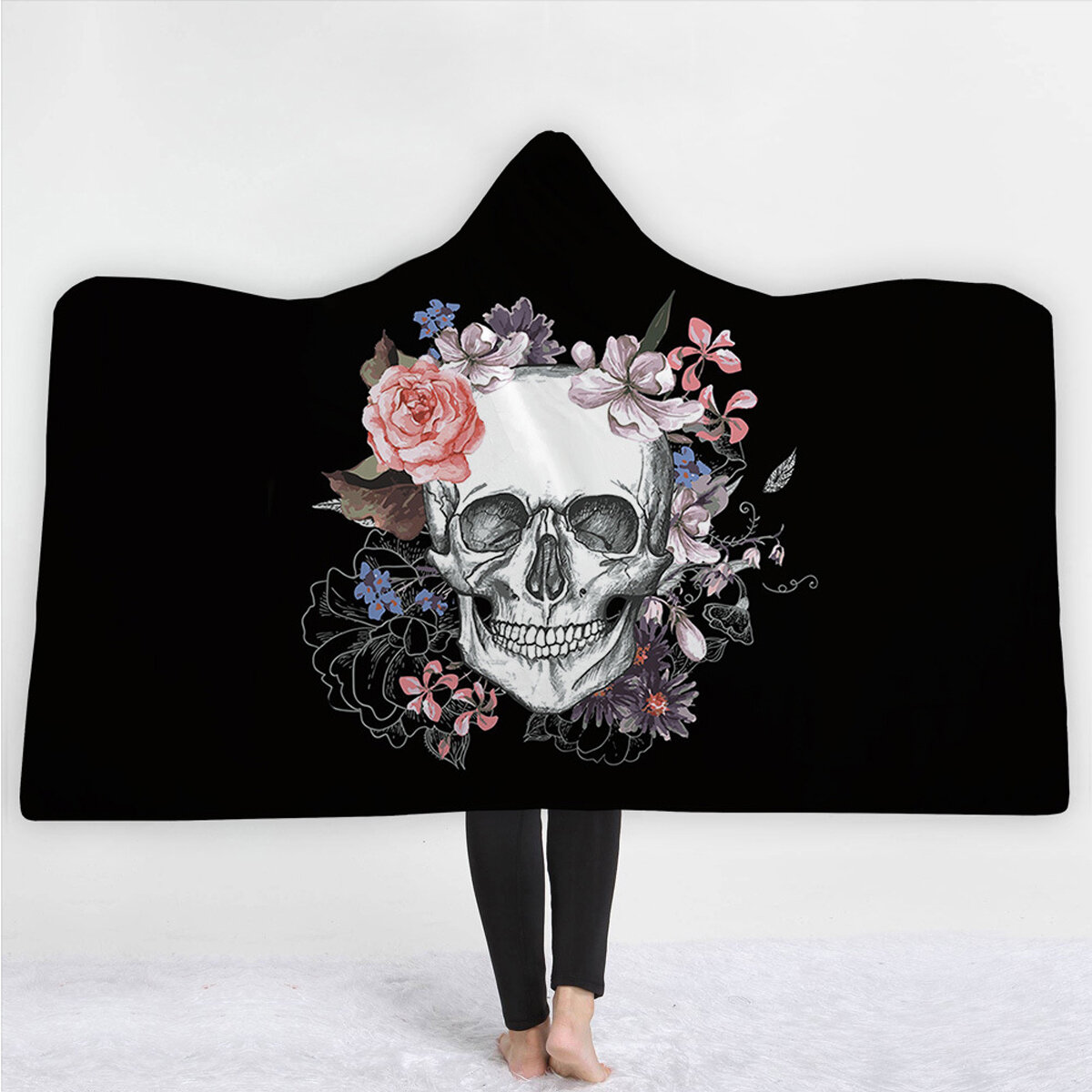 Sugar Skull Flower Hooded Blanket for Adults Floral Gothic Sherpa Fleece Wearable Throw Blanket Microfiber Black