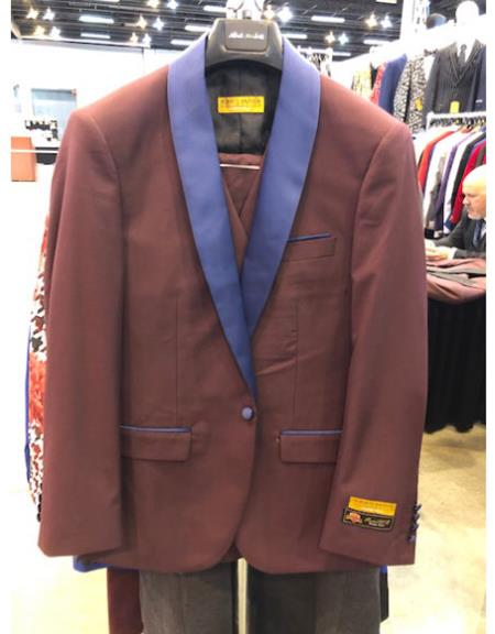 Mens Two Button Peak Lapel Brown Single Breasted Suit