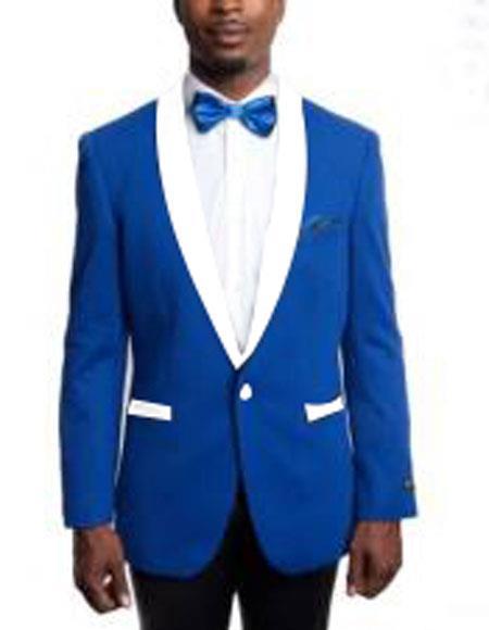 Mens 1 Button Slim Fit Royal Blue and White Lapel Tuxedo Suit