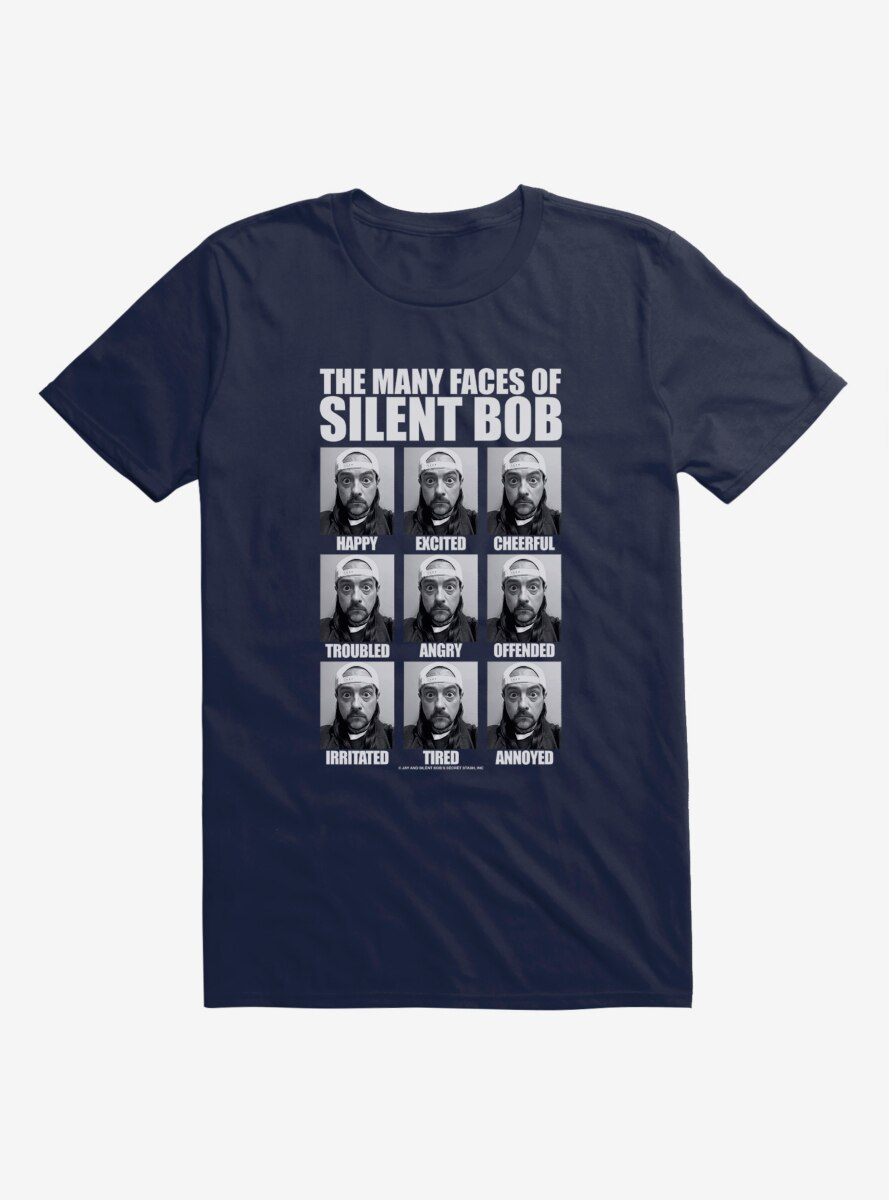 Jay And Silent Bob Reboot The Many Faces of Silent Bob Table T-Shirt