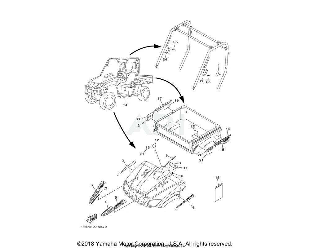 Yamaha OEM 1RB-F1781-00-00 EMBLEM 1