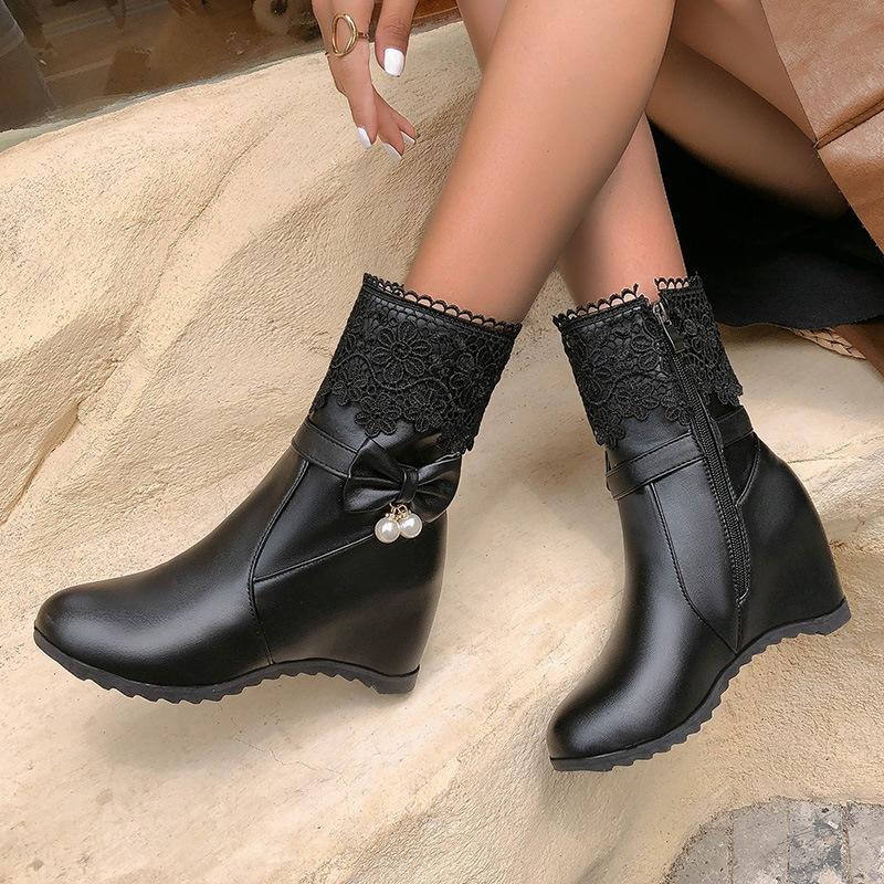 Ericdress Plain Round Toe Side Zipper Sweet Boots
