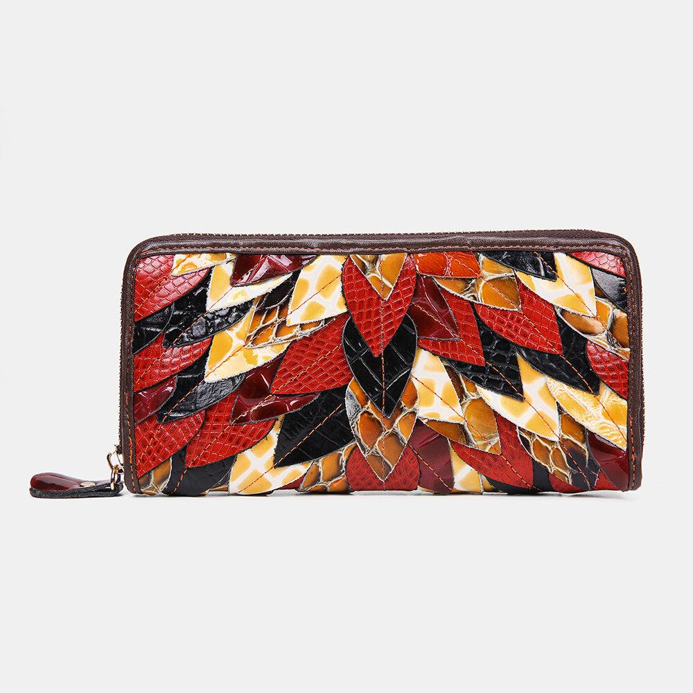 Women Genuine Leather Patchwork Vintage Wallet Purse