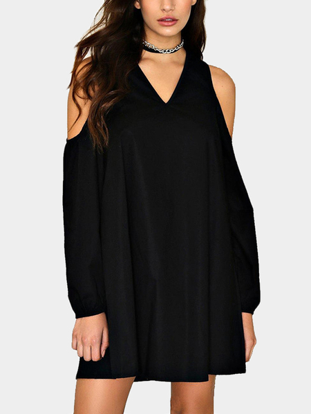 Yoins Black V-neck Cold Shoulder Long Sleeves Dress