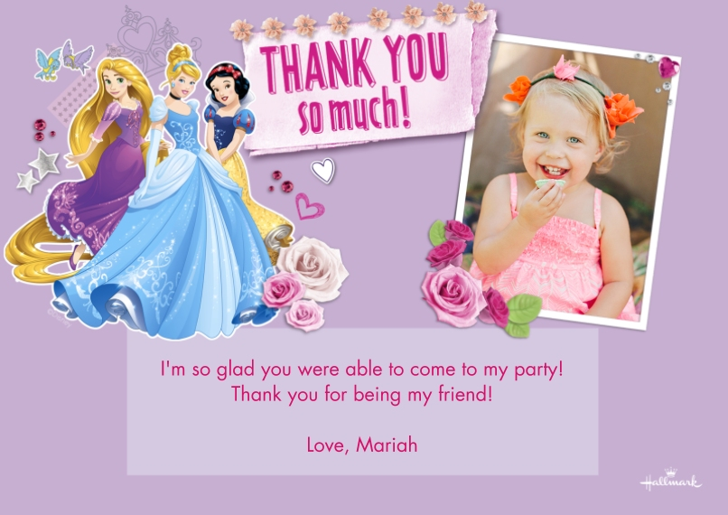 Kids Thank You Cards 5x7 Cards, Premium Cardstock 120lb with Rounded Corners, Card & Stationery -Disney Princess Collage Thank You