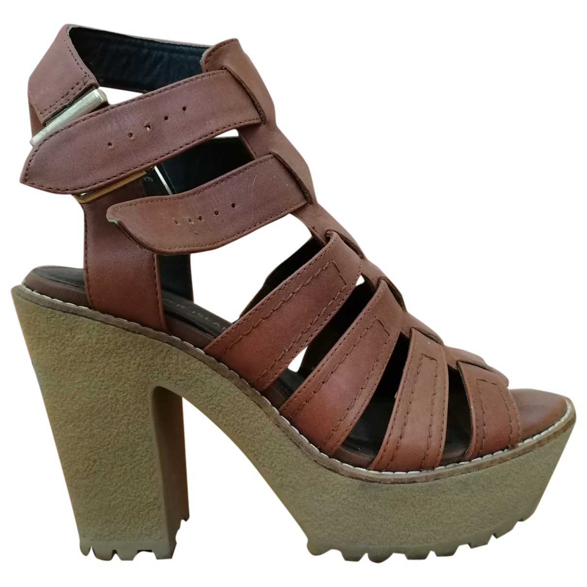 River Island \N Brown Leather Sandals for Women 38 EU