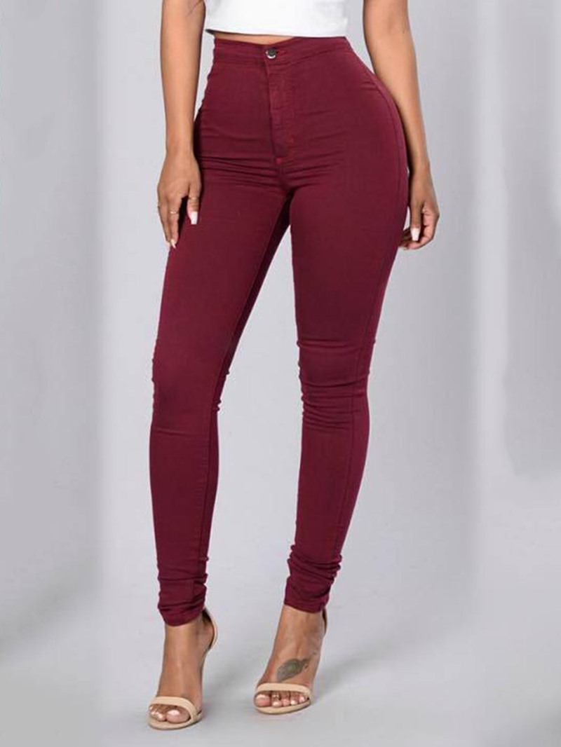 Ericdress Pocket Plain High-Waist Skinny Women's Leggings Pants