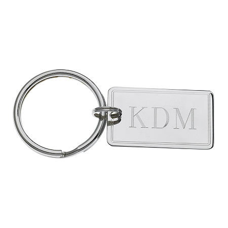 Personalized Rectangular Key Ring with Pinstripe Border, One Size , Silver