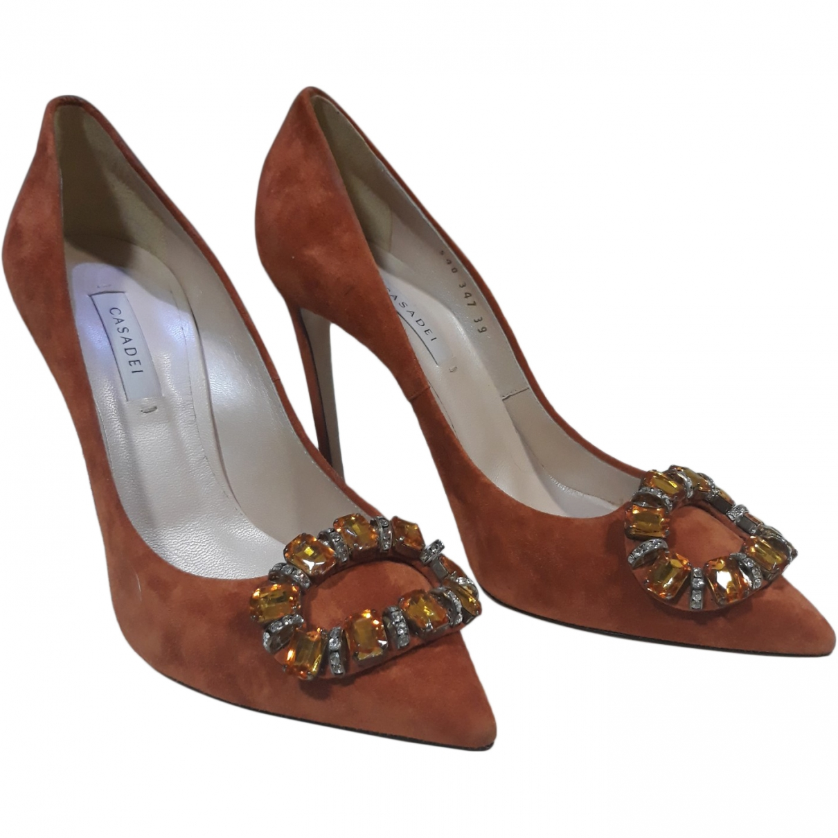 Casadei \N Orange Suede Heels for Women 39 EU