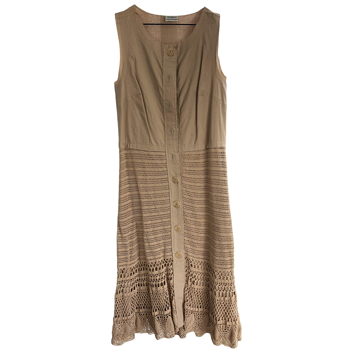 Philosophy Di Alberta Ferretti \N Camel Cotton - elasthane dress for Women 38 FR