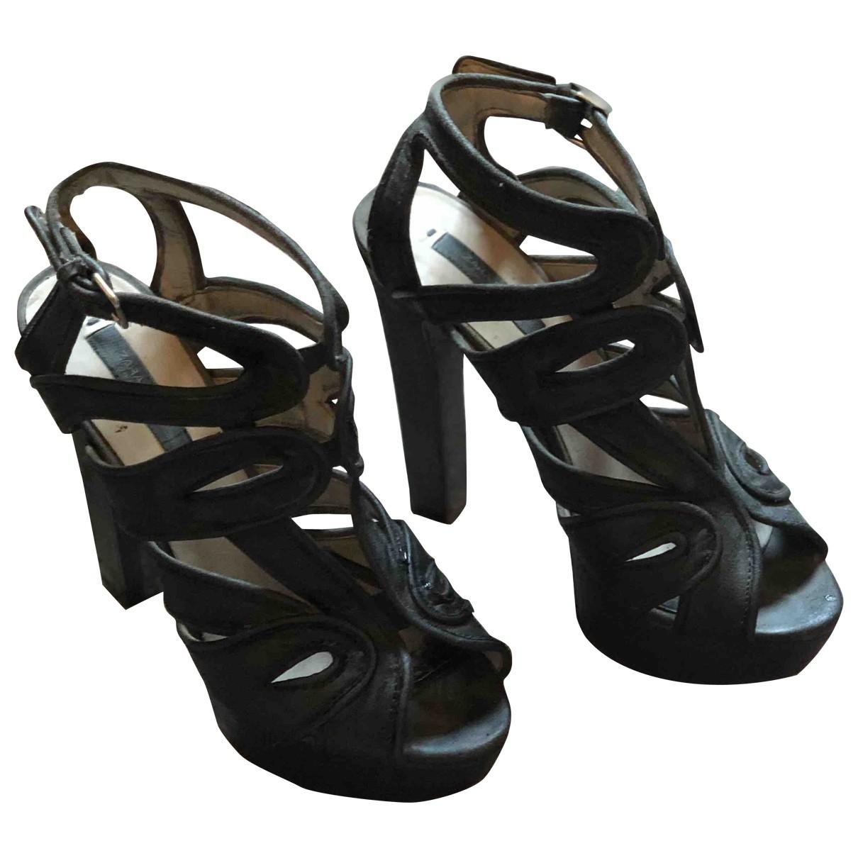 Zara \N Black Suede Heels for Women 37 EU