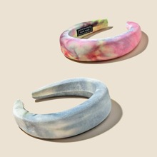 2pcs Tie Dye Pattern Hair Hoop