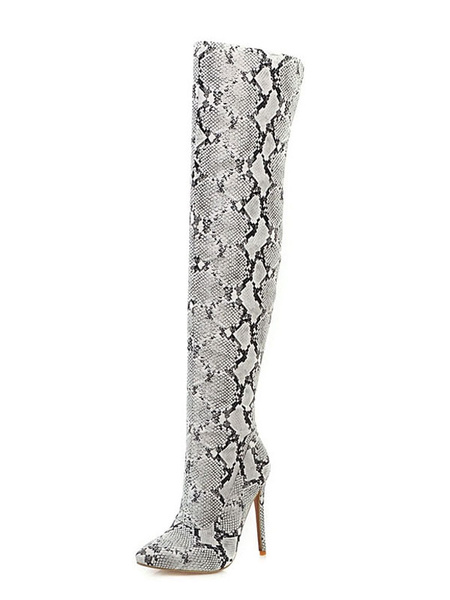 Milanoo Over The Knee Boots Womens PU Snake Print Pointed Toe Stiletto Heel Thigh High Boots