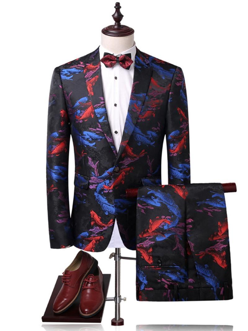 Ericdress Print Color Block Notched Lapel Men's Suit