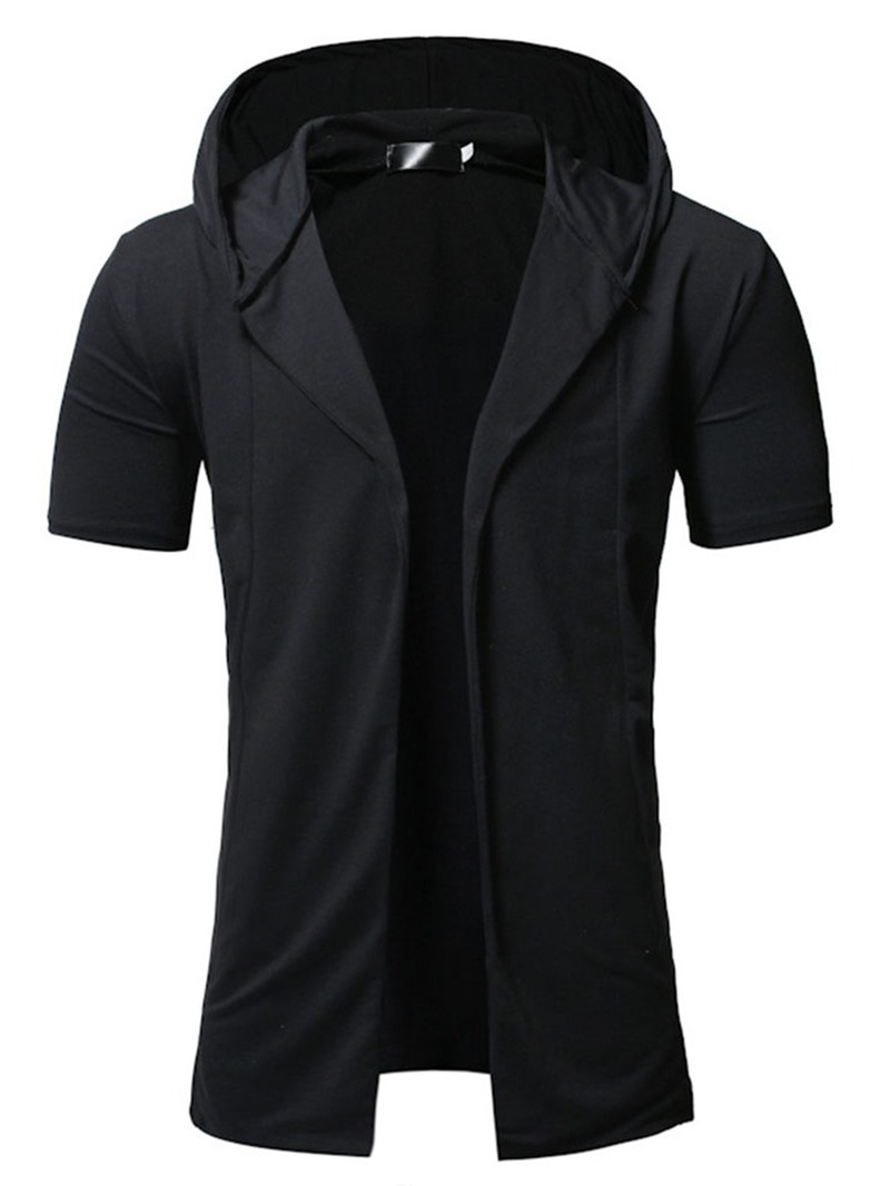 Ericdress Mid-Length Plain Hooded Casual Wrapped Mens Trench Coat