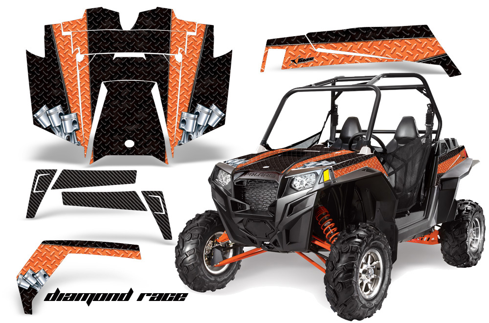AMR Racing  Full Custom UTV Graphics Decal Kit Wrap Diamond Race Orange Polaris RZR XP 900 11-14