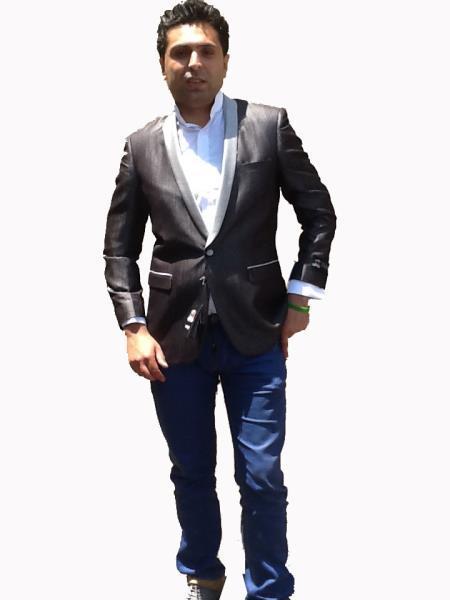 Mens Sport Coat/Dinner Jacket Blazer Vented Black with Silver Lapel