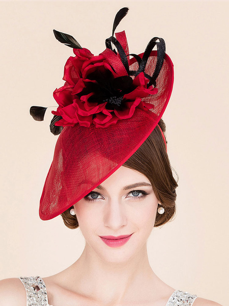 Milanoo Women's Fascinator Hat Red Flower Feather Vintage Headband For Cocktail Halloween