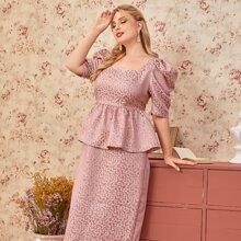 Plus Puff Sleeve Ruffle Waist Split Hem Ditsy Floral Jacquard Dress