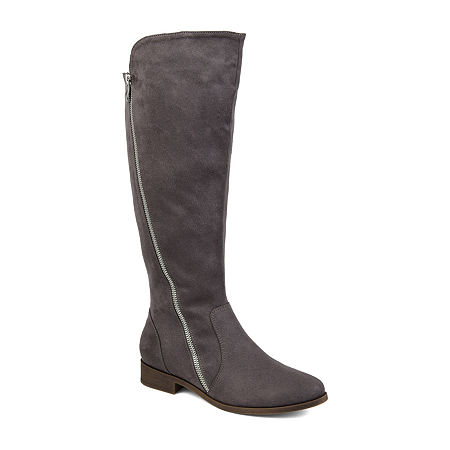 Journee Collection Womens Kerin Wide Calf Stacked Heel Zip Riding Boots, 7 1/2 Medium, Gray