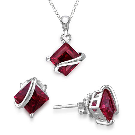 Lab-Created Ruby Sterling Silver Earrings & Pendant Necklace 2-Piece Set, One Size , No Color Family