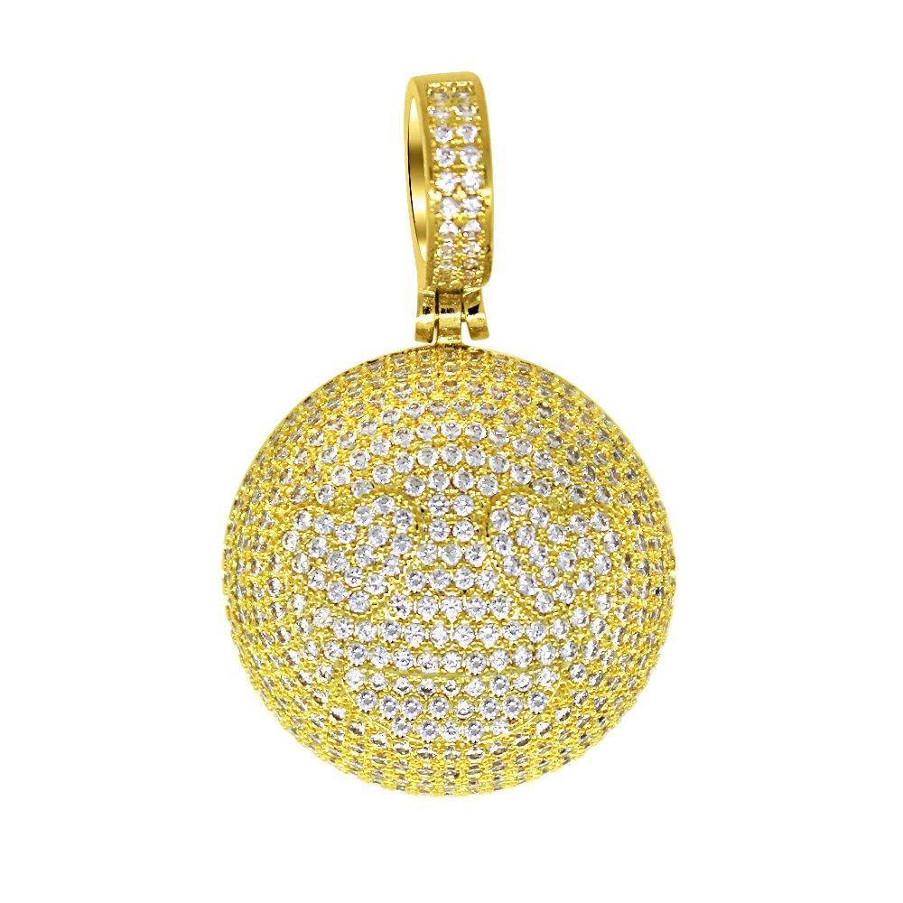 Emoji Heart Eyes Gold Bling Bling Pendant
