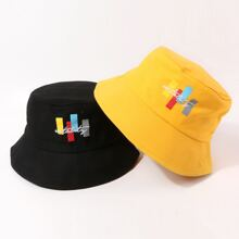2pcs Letter Embroidered Bucket Hat