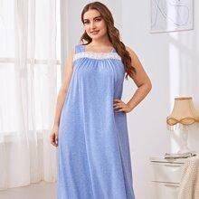 Plus Contrast Guipure Lace Night Dress