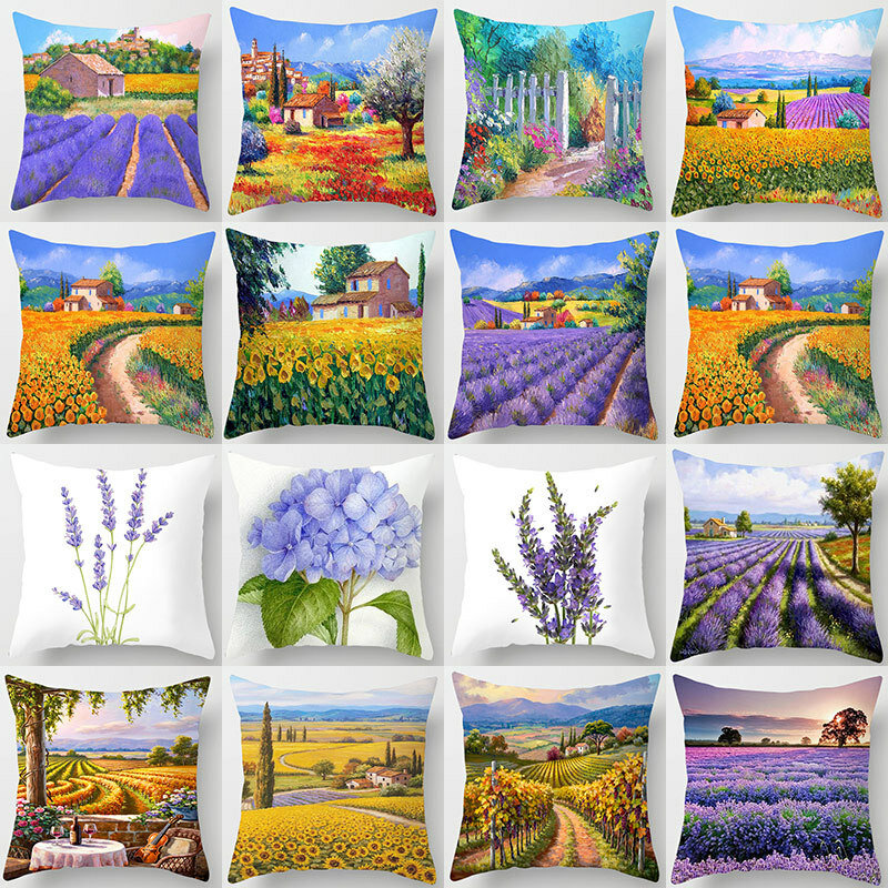Throw Pillow Covers Oil Painting Lavender Purple Flowers Decorative Pillow Cases Home Decor Square 18x18 Inches Cotton L