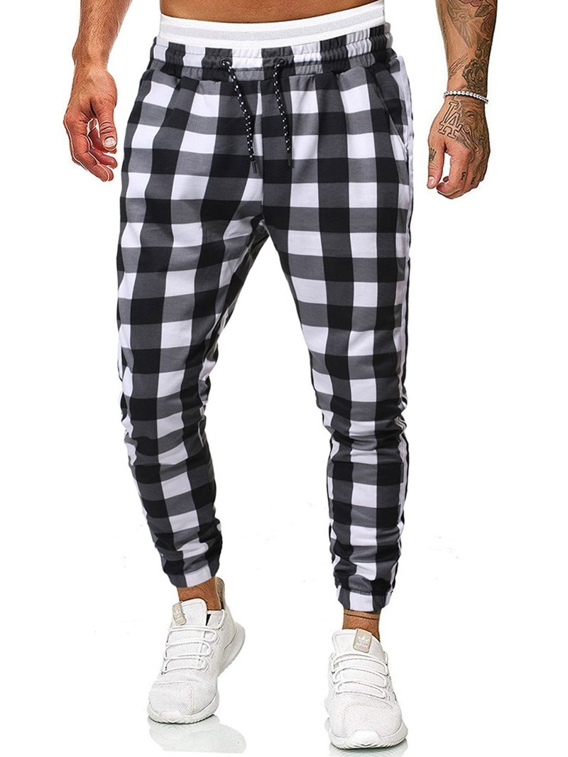 Ericdress Plaid Print Casual Pants